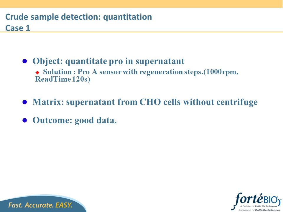 Crude sample detection: quantitation Case 1