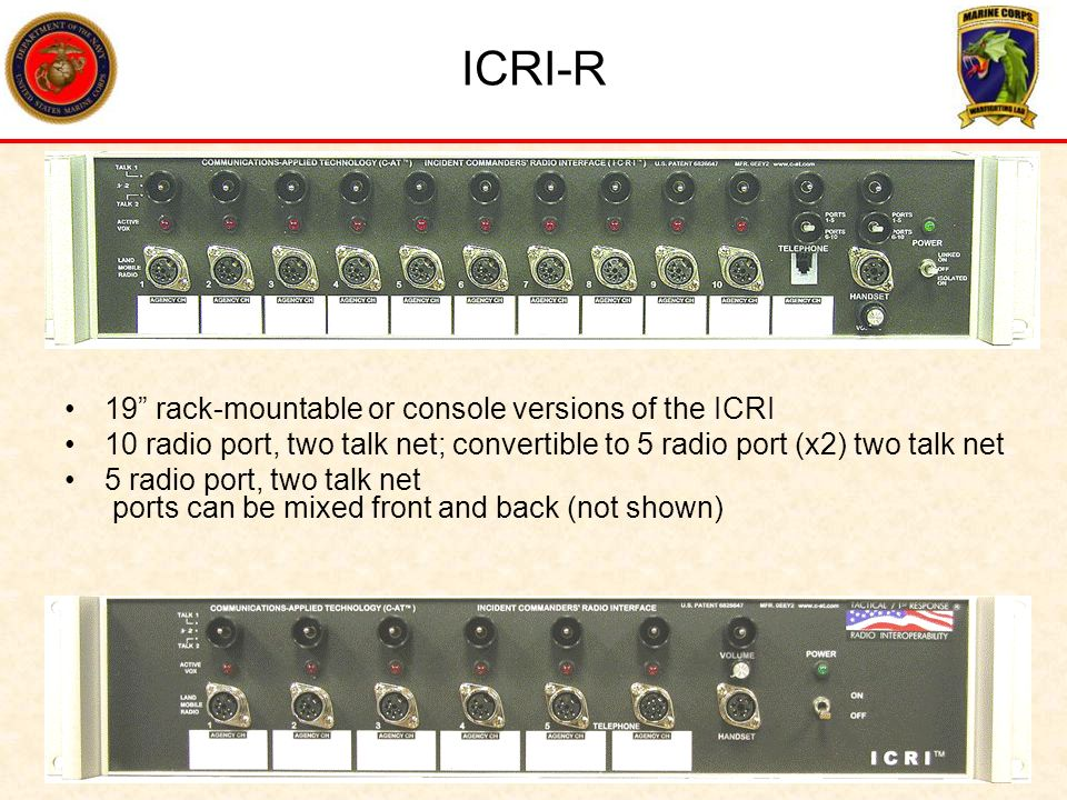 ICRI-R 19 rack-mountable or console versions of the ICRI