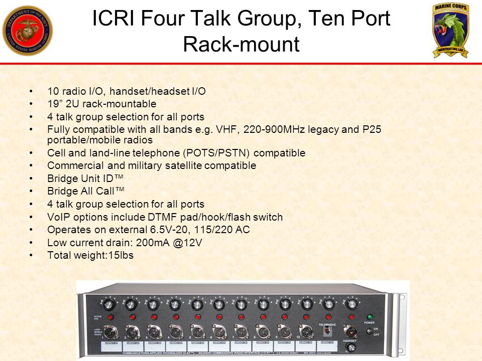 ICRI Four Talk Group, Ten Port Rack-mount