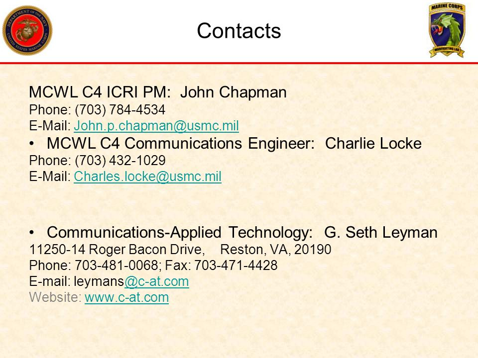 Contacts MCWL C4 ICRI PM: John Chapman