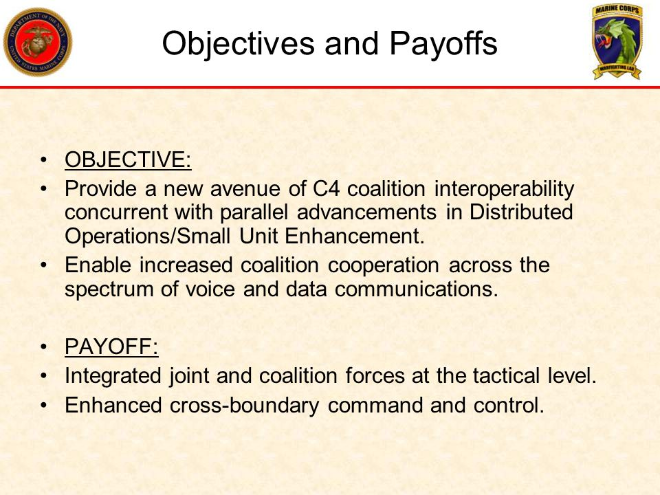 Objectives and Payoffs
