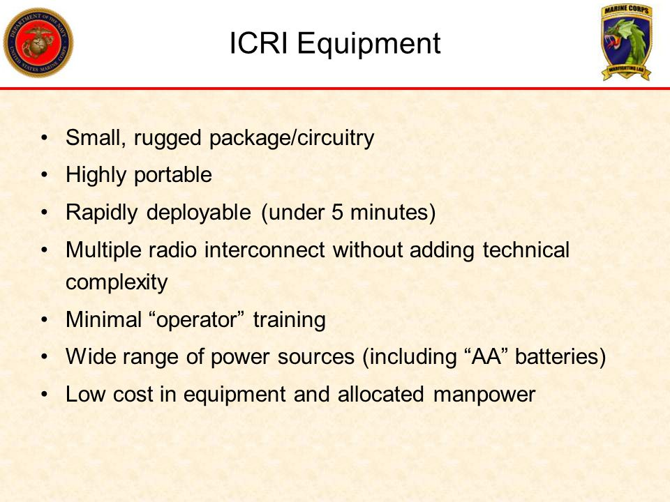 ICRI Equipment Small, rugged package/circuitry Highly portable