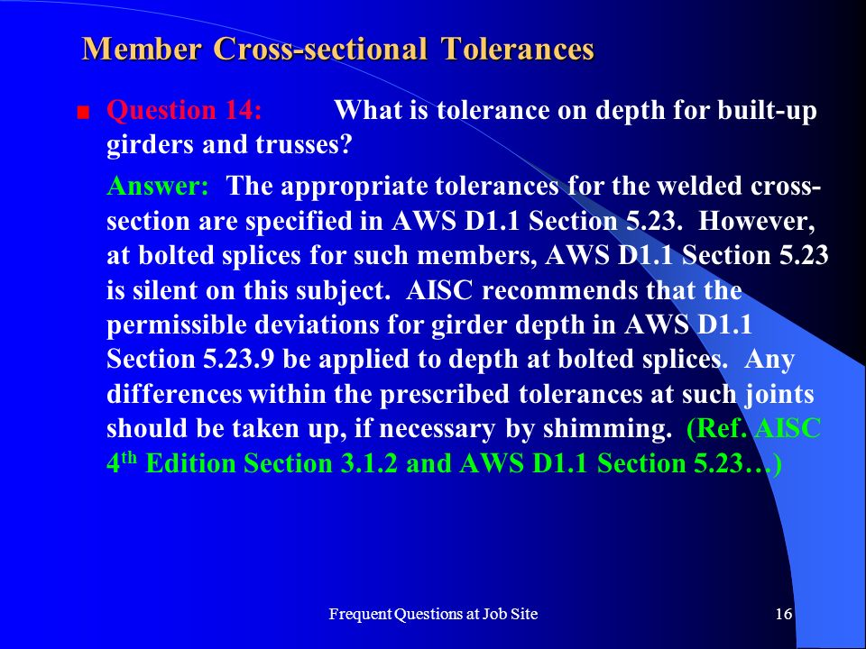 Member Cross-sectional Tolerances