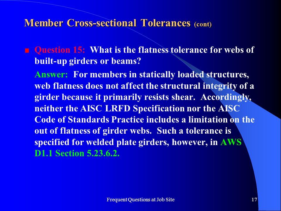 Member Cross-sectional Tolerances (cont)