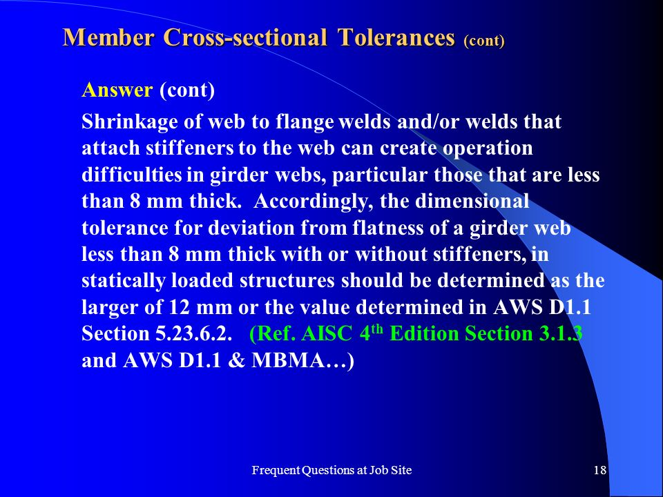 Member Cross-sectional Tolerances (cont)
