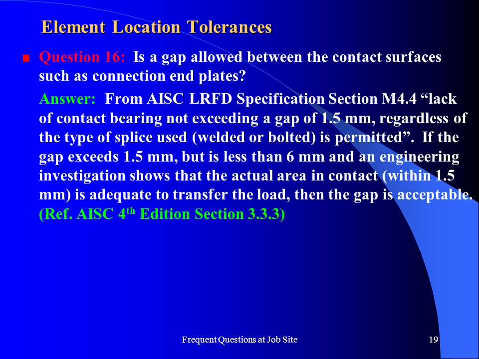 Element Location Tolerances