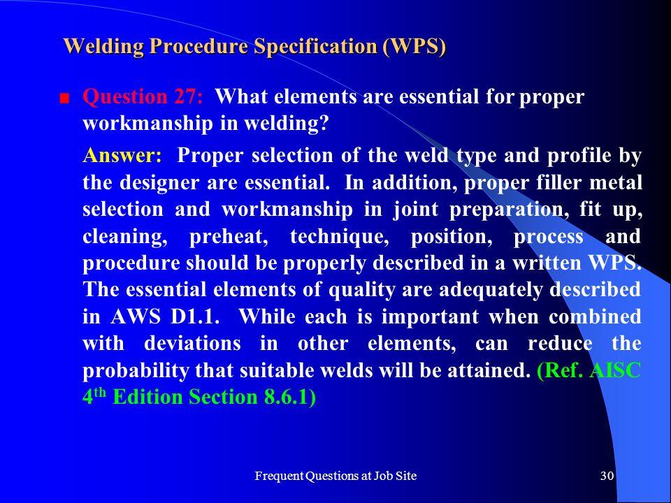 Welding Procedure Specification (WPS)