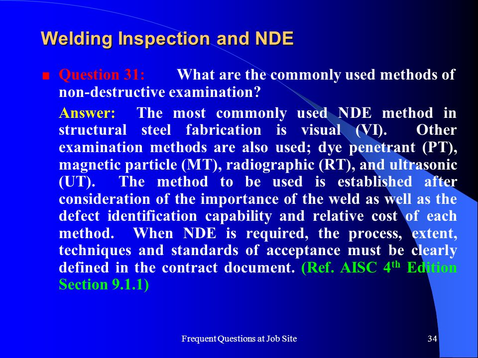 Welding Inspection and NDE