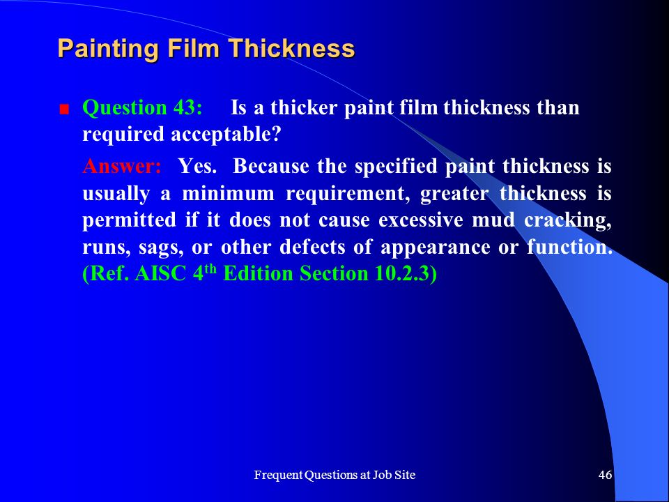 Painting Film Thickness