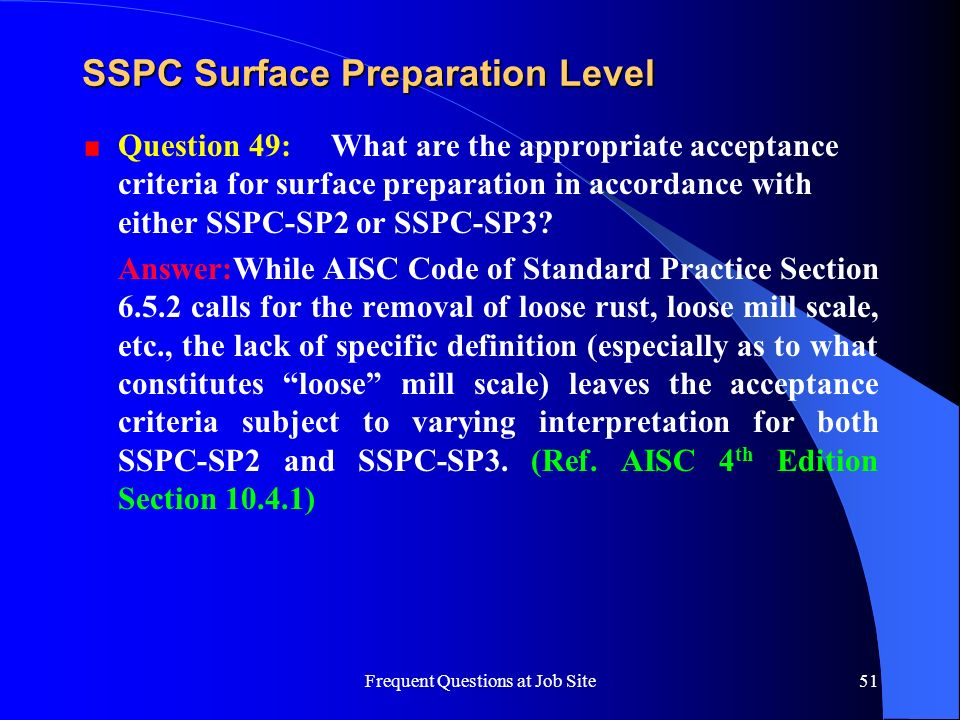 SSPC Surface Preparation Level