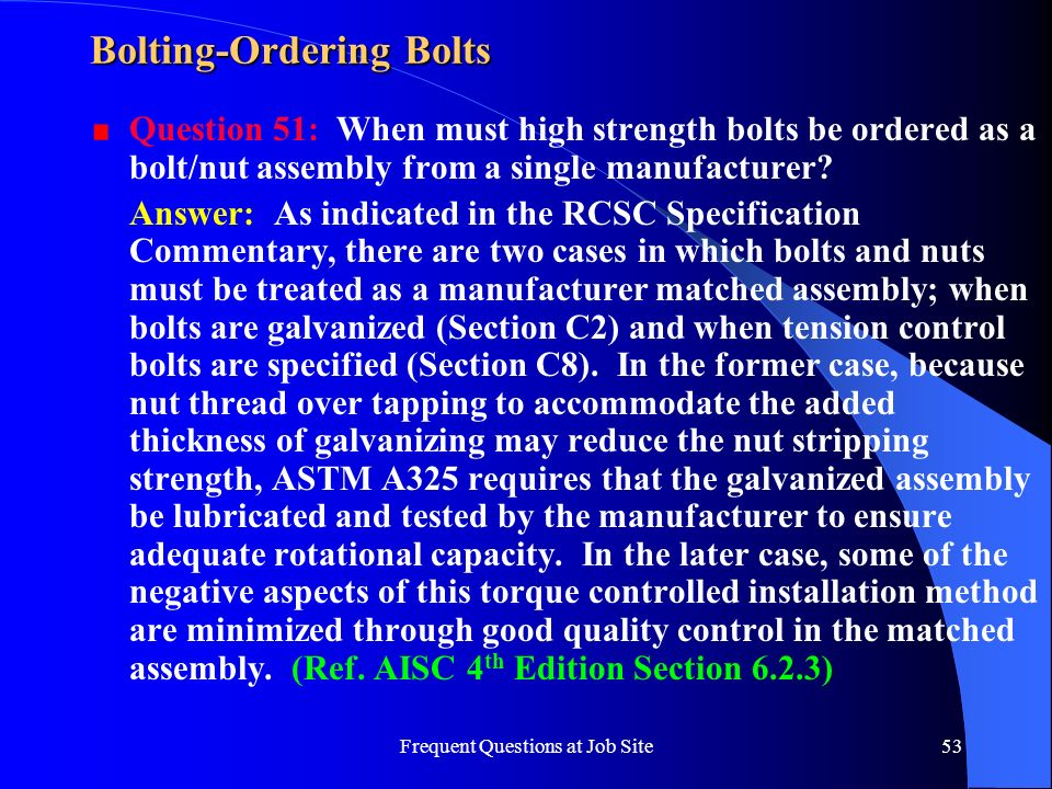 Bolting-Ordering Bolts