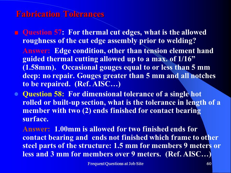 Fabrication Tolerances