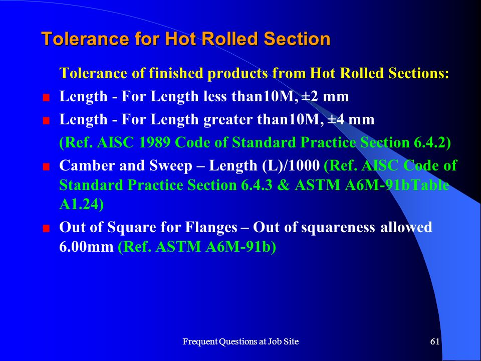 Tolerance for Hot Rolled Section