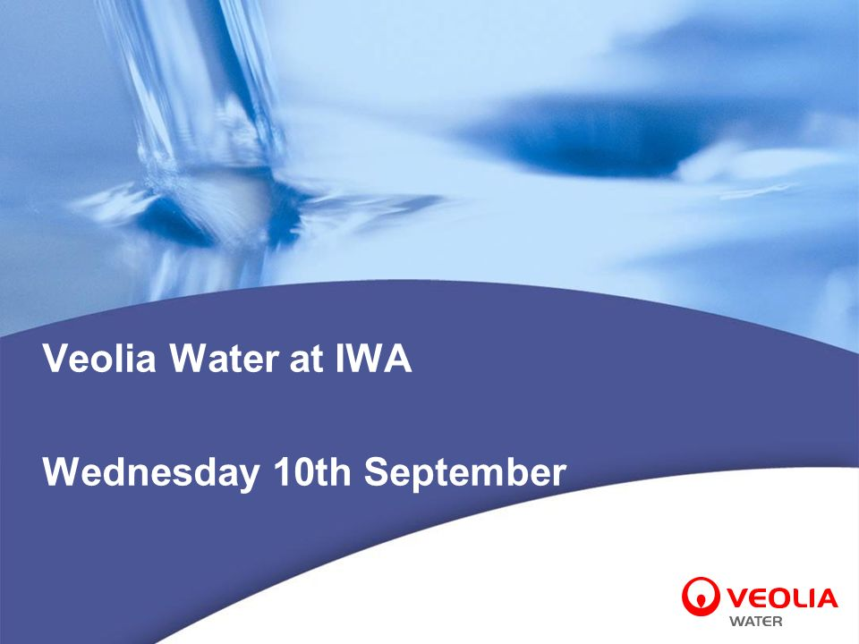 Veolia Water at IWA Wednesday 10th September