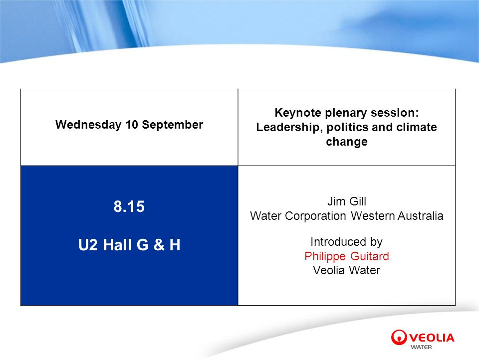 8.15 U2 Hall G & H Wednesday 10 September