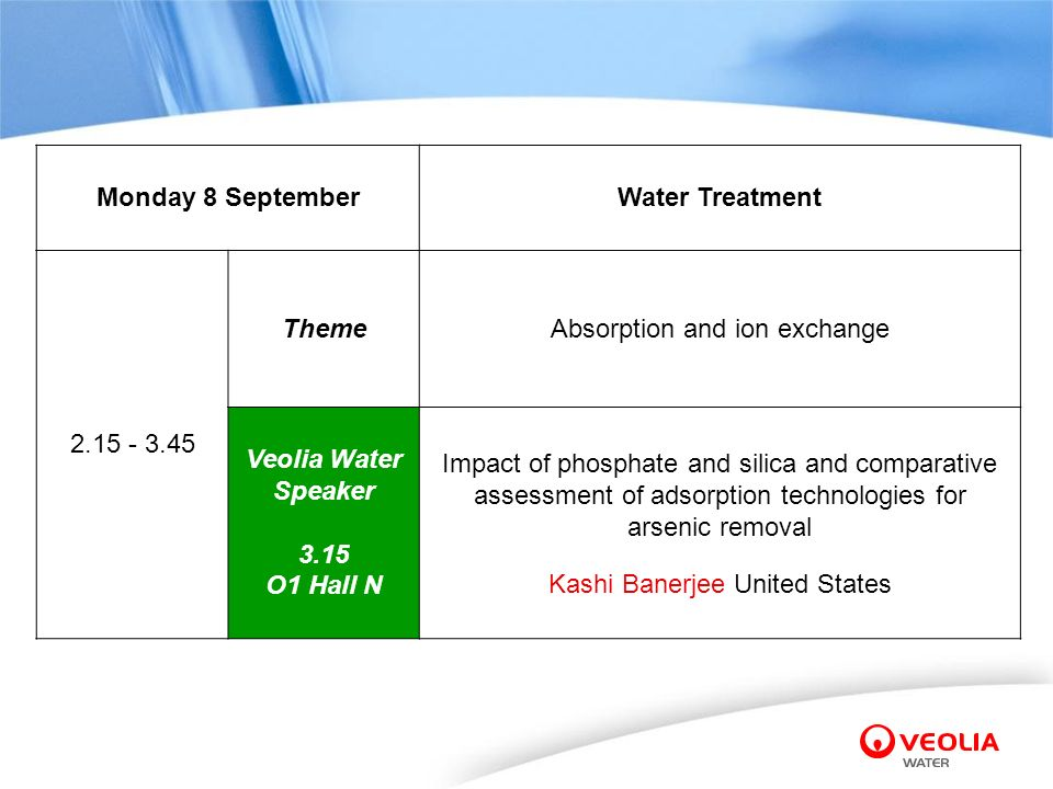 Absorption and ion exchange Veolia Water Speaker