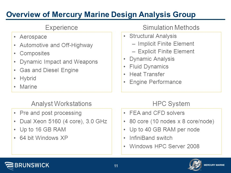 Overview of Mercury Marine Design Analysis Group