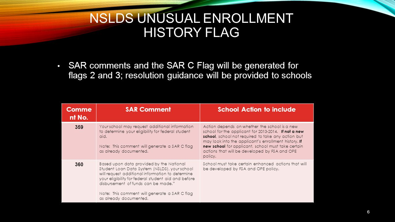NSLDS Unusual Enrollment History Flag
