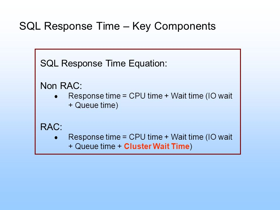 SQL Response Time – Key Components