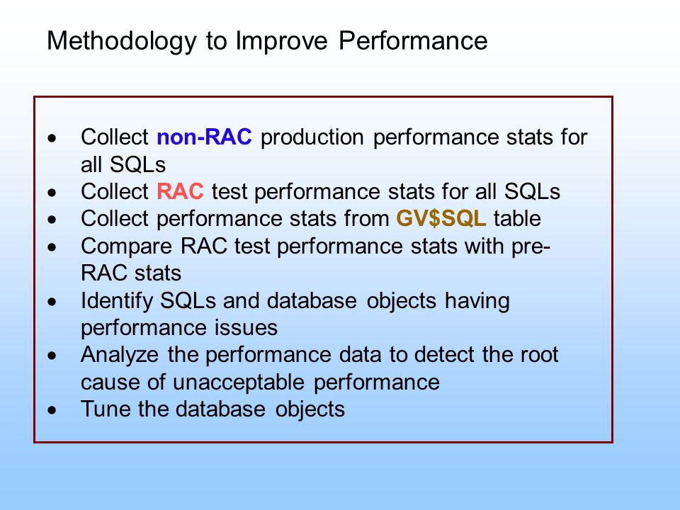 Methodology to Improve Performance
