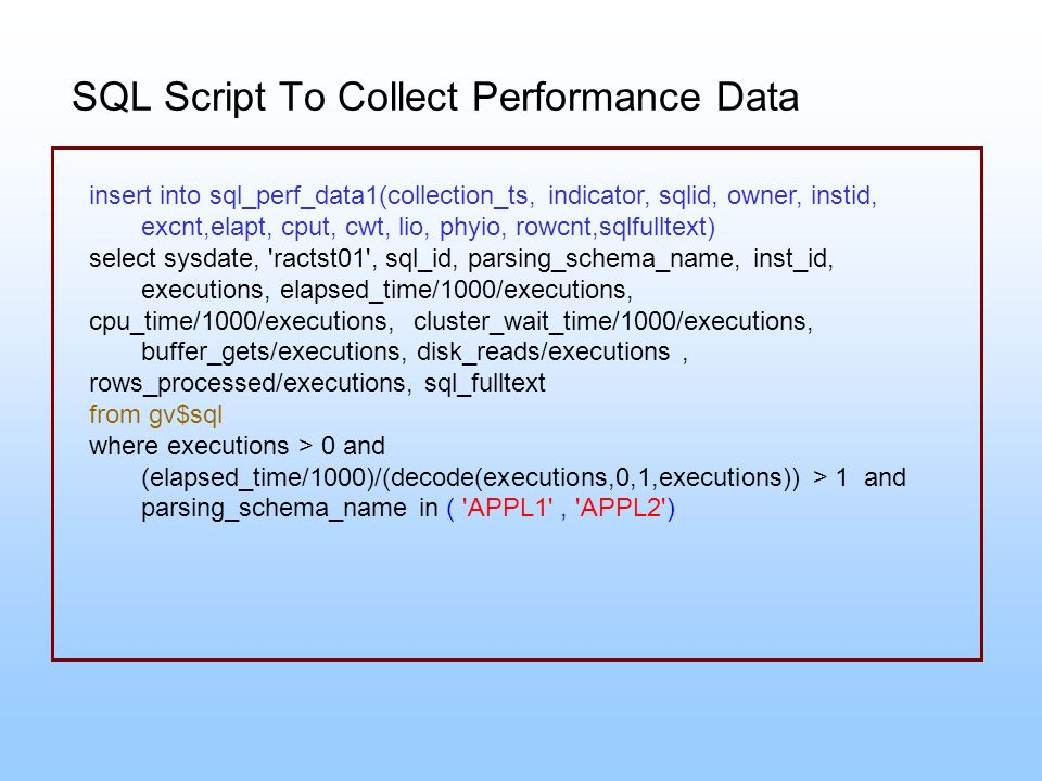 SQL Script To Collect Performance Data