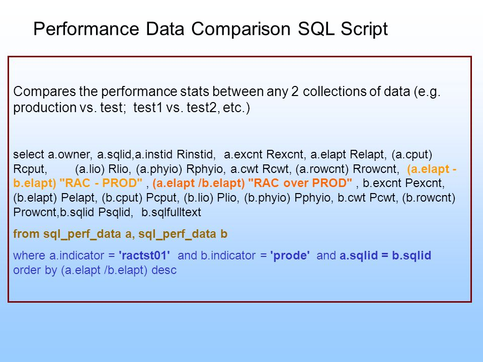 Performance Data Comparison SQL Script