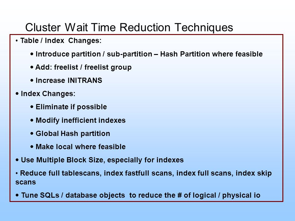 Cluster Wait Time Reduction Techniques