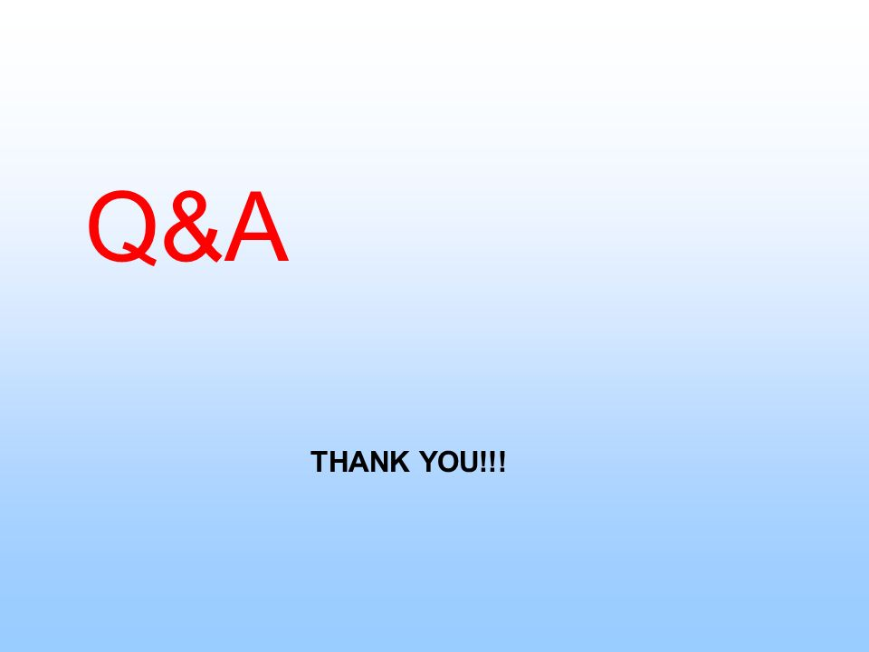 Q&A THANK YOU!!!