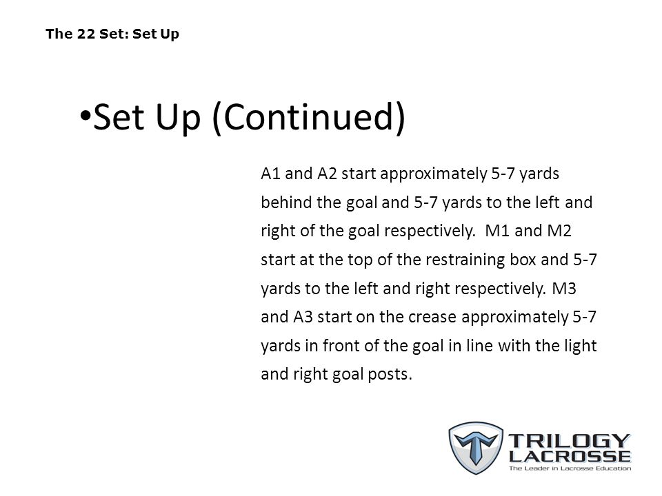 The 22 Set: Set Up Set Up (Continued)