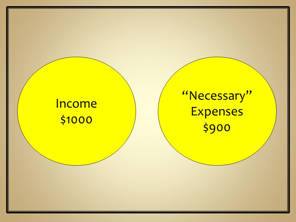 Necessary Income Expenses $900 $1000
