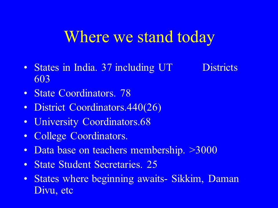 Where we stand today States in India. 37 including UT Districts 603