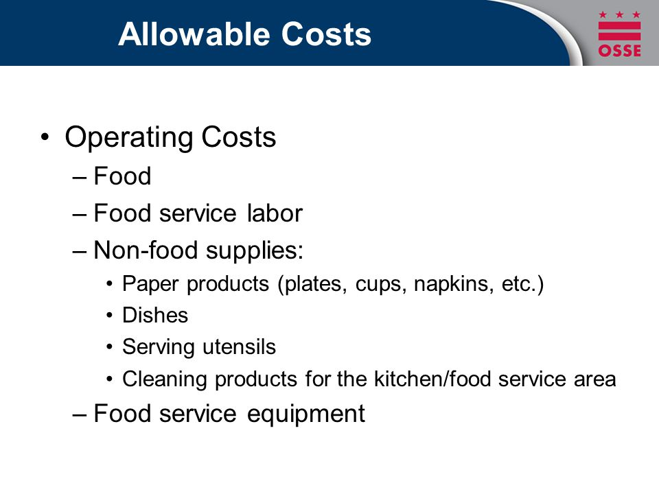 Allowable Costs Operating Costs Food Food service labor