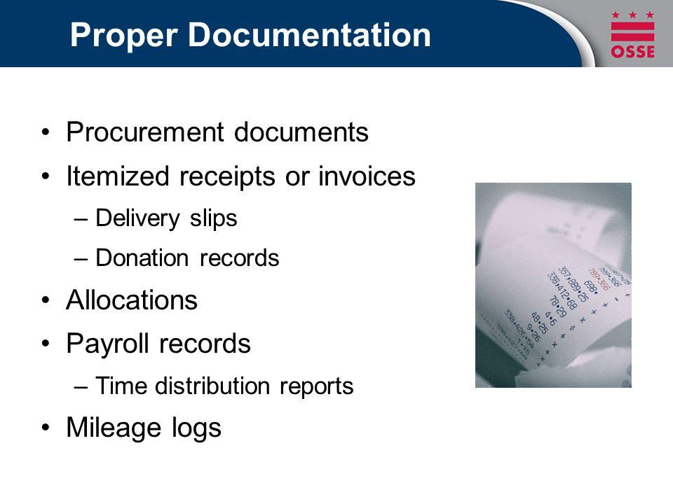 Proper Documentation Procurement documents