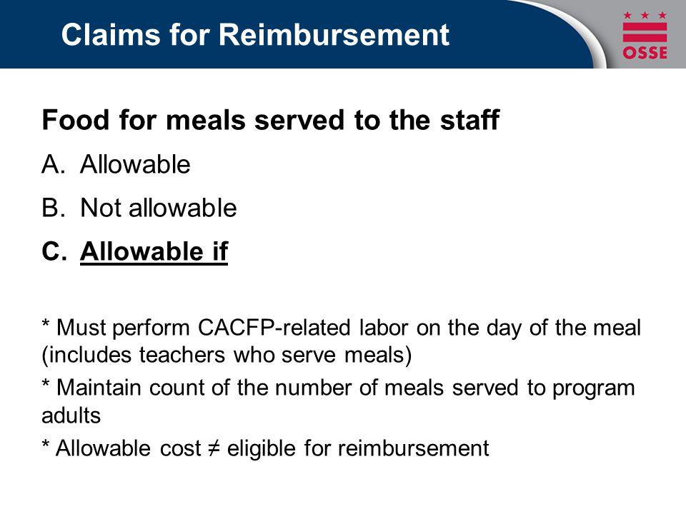 Claims for Reimbursement