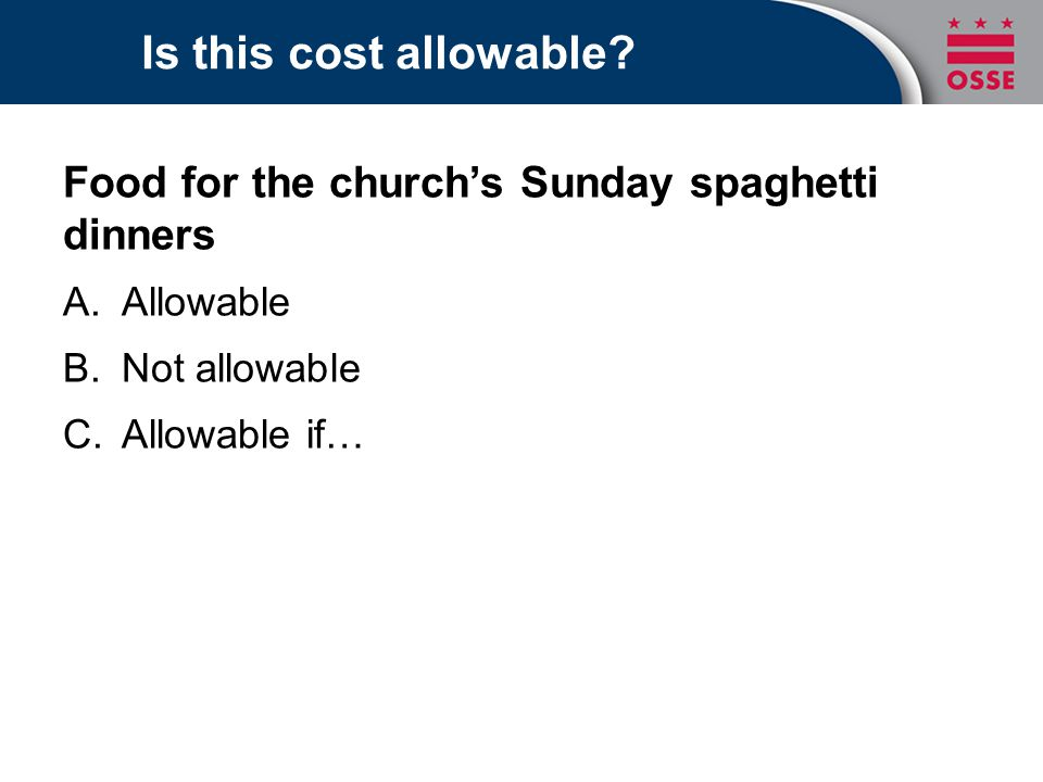 Is this cost allowable Food for the church's Sunday spaghetti dinners