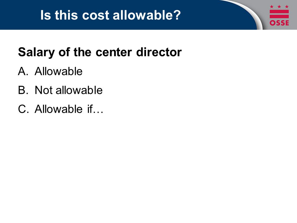 Is this cost allowable Salary of the center director Allowable