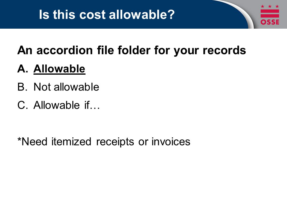 Is this cost allowable An accordion file folder for your records