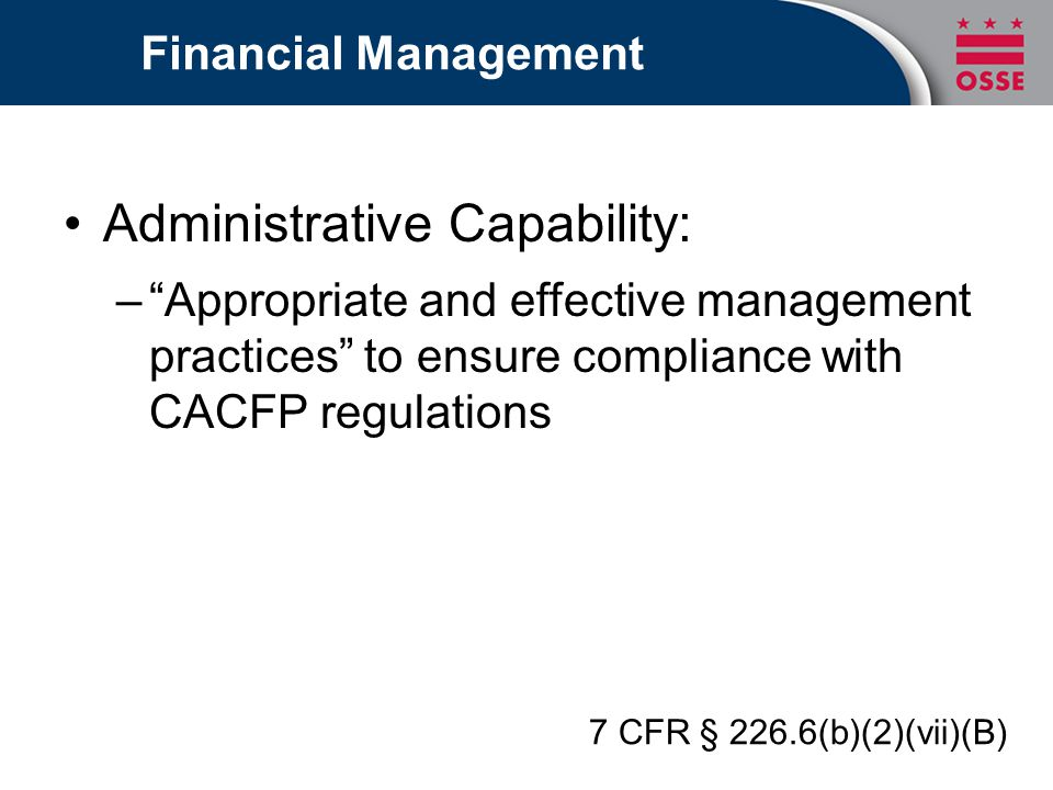 Administrative Capability: