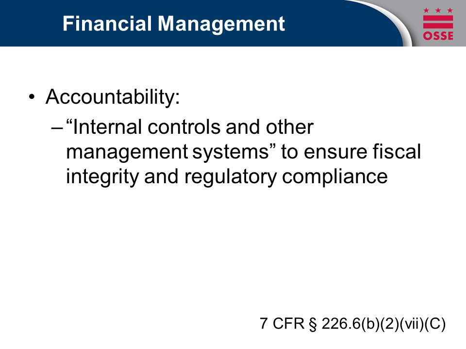 Financial Management Accountability: