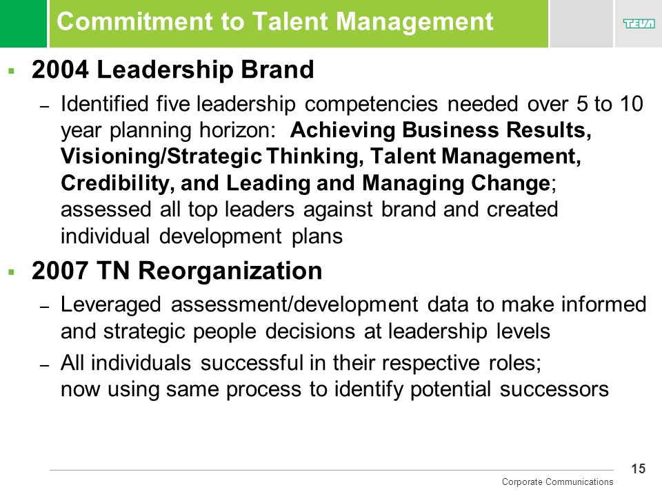 Commitment to Talent Management