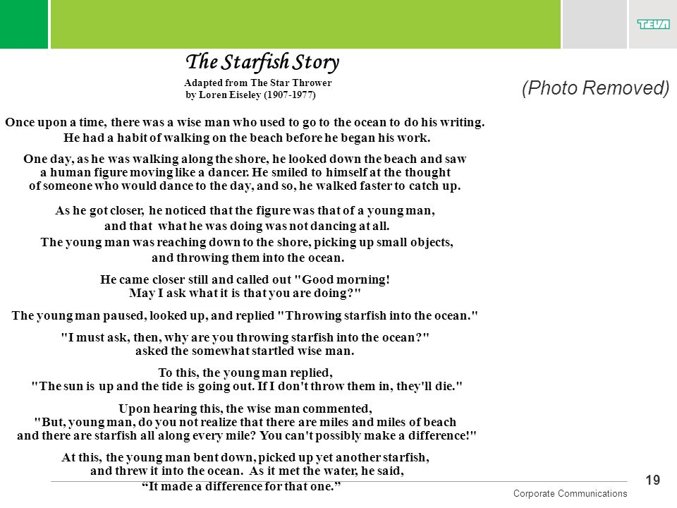 (Photo Removed) The Starfish Story Adapted from The Star Thrower