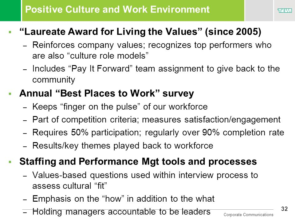 Positive Culture and Work Environment