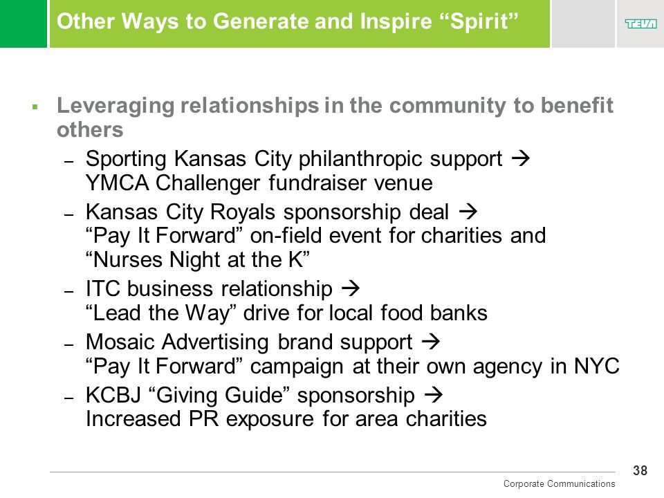 Other Ways to Generate and Inspire Spirit