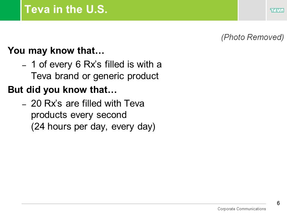 Teva in the U.S. You may know that…
