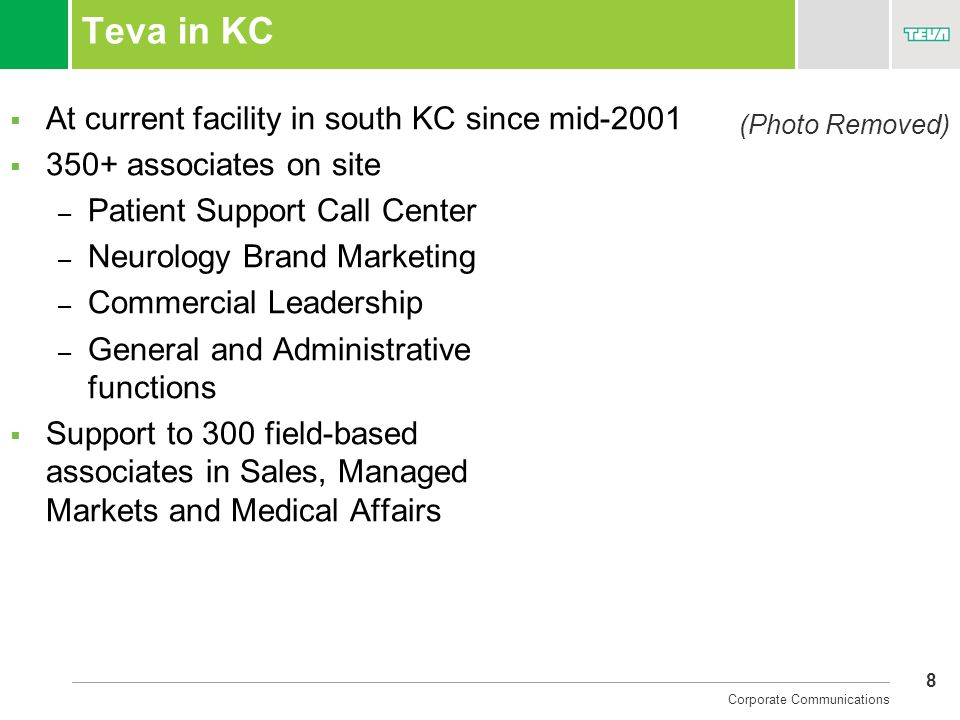 Teva in KC At current facility in south KC since mid-2001