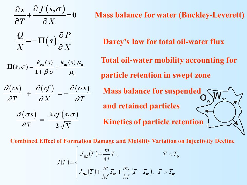 Mass balance for water (Buckley-Leverett)