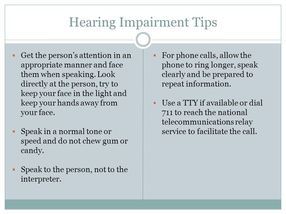 Hearing Impairment Tips