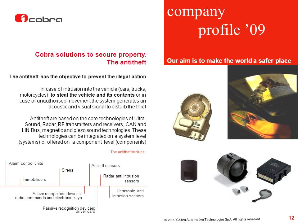 company profile '09 Cobra solutions to secure property. The antitheft