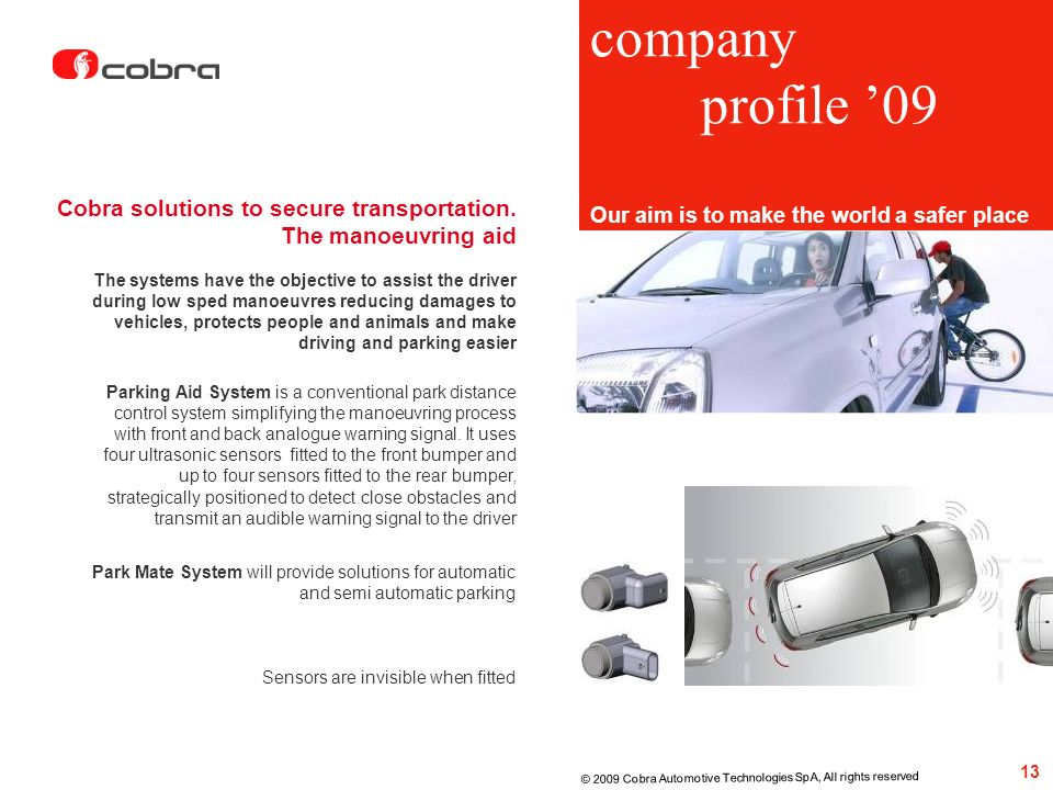 company profile '09 Cobra solutions to secure transportation.