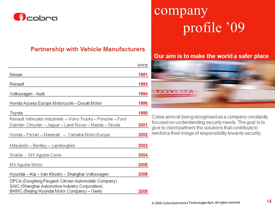 company profile '09 Partnership with Vehicle Manufacturers
